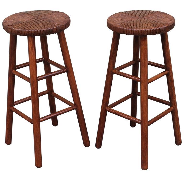 Pair of Rustic Handmade Bar Stools For Sale