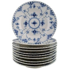 Ten Plates Royal Copenhagen Blue Fluted Lunch Plates Number 1085