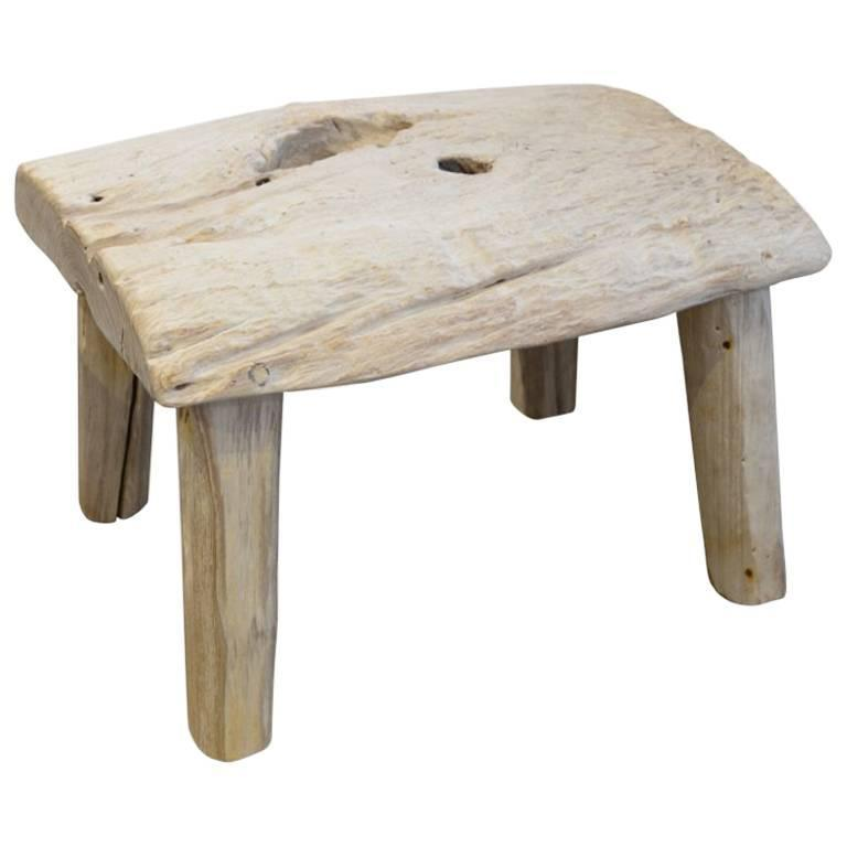 Andrianna Shamaris St. Barts Bleached Teak Wood Side Table or Stool For Sale