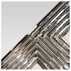 Custom Handmade Mirror with Complex Geometric Designs in Pyramidal Relief