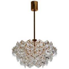 Mid-Century Modern Chandelier, Gold-Plated with Molded-Crystals, Kinkeldey