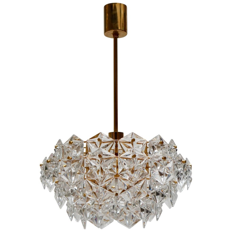 Mid-Century Modern Chandelier, Gold-Plated with Molded-Crystals, Kinkeldey 1