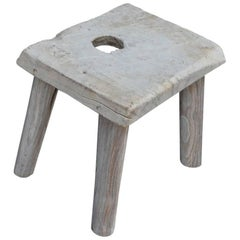 Andrianna Shamaris Bleached Teak Wood Side Table or Stool