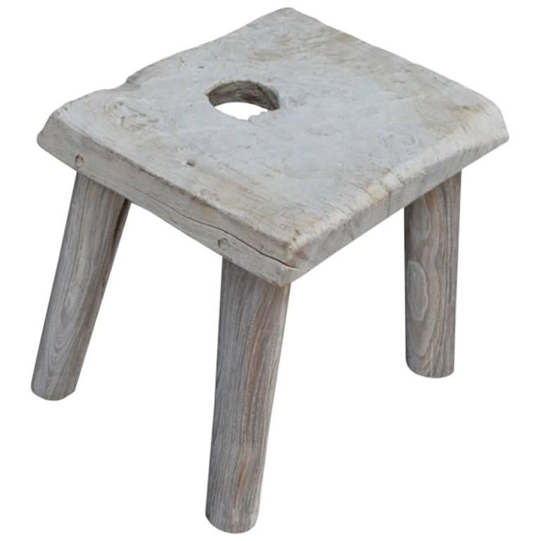 Andrianna Shamaris Bleached Teak Wood Side Table or Stool 1