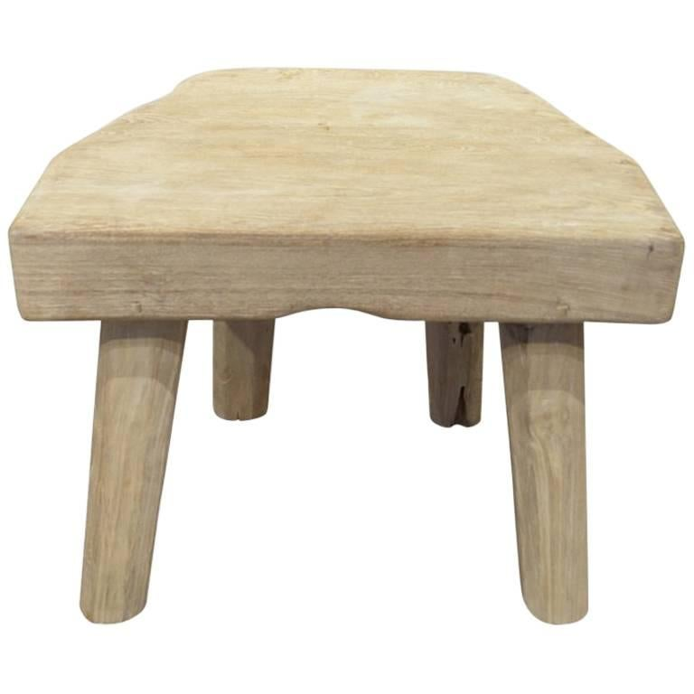 Bleached Teak Wood Side Table Or Stool 1