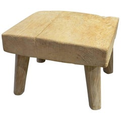 Andrianna Shamaris Bleached Teak Wood Stool, Side Table