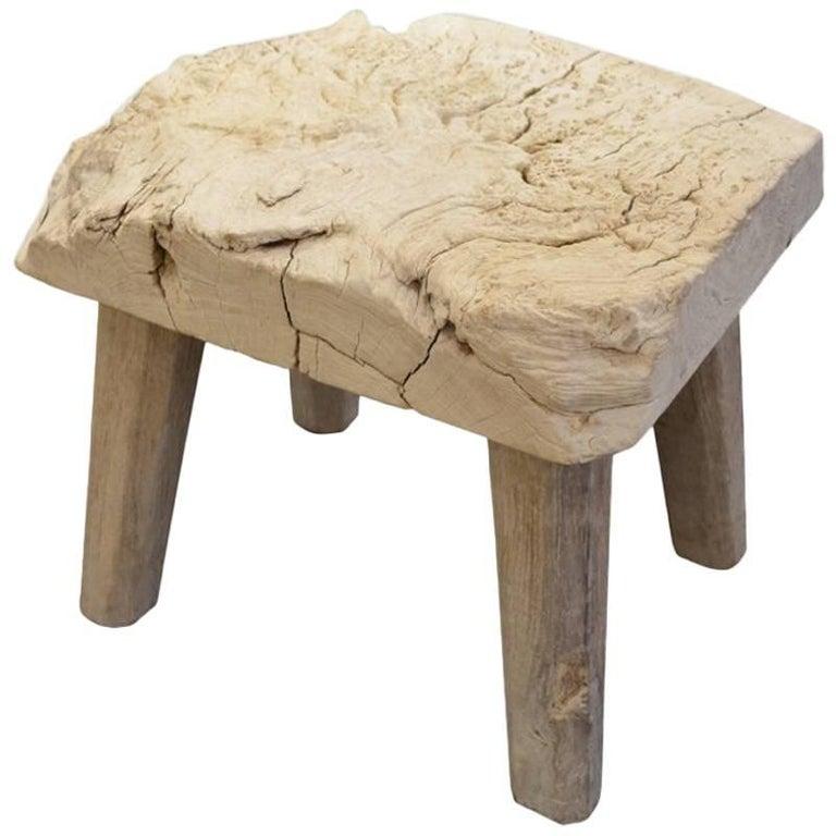 Andrianna Shamaris Bleached Teak Wood Stool or Side Table