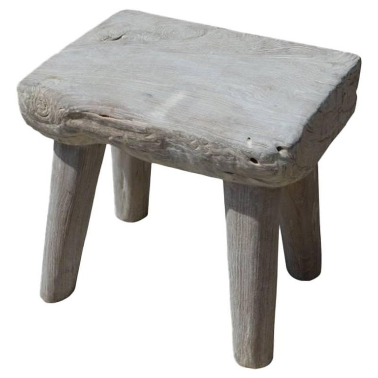 Bleached Teak Wood Stool or Side Table For Sale