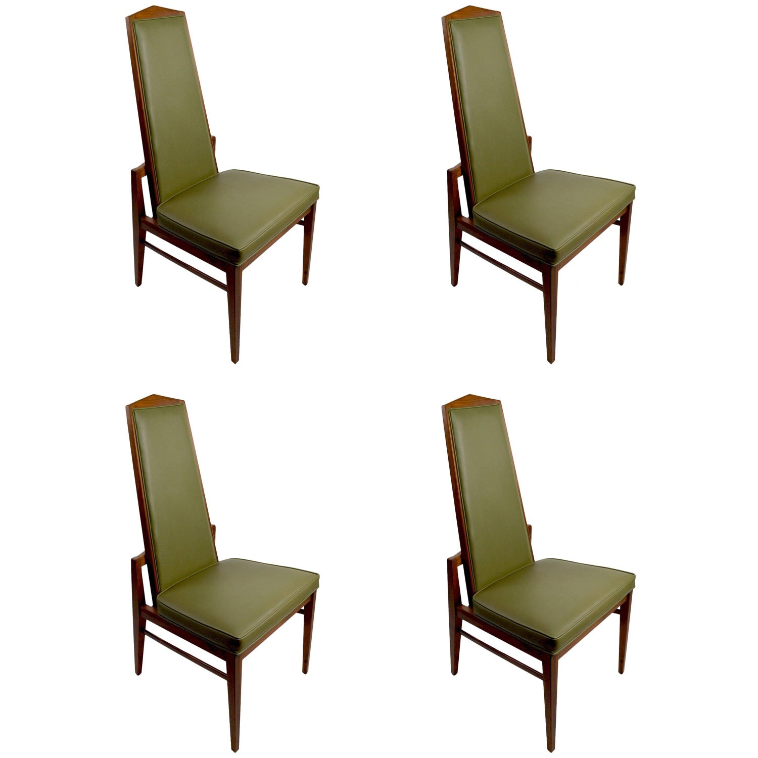 Six Walnut Foster and McDavid Cane Back Dining Chairs Mid Century