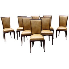Set of Eight French Art Deco Jules Leleu Style Mahogany Dining Chairs