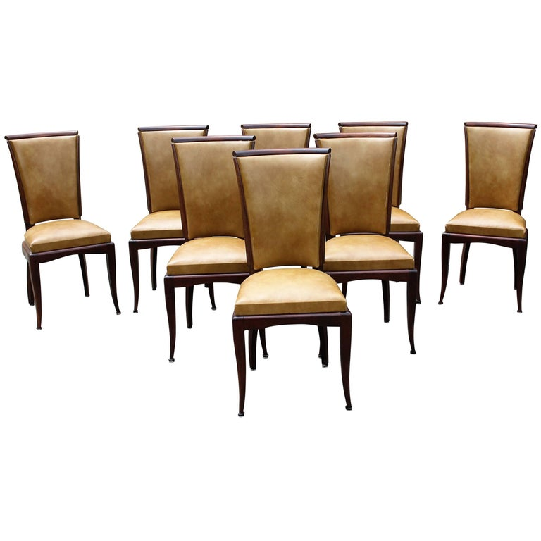 Set of Eight French Art Deco Jules Leleu Style Mahogany Dining Chairs 1