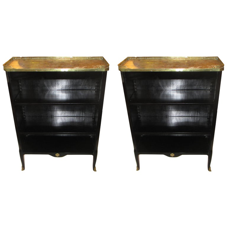 Fine Pair of French Ebonized Marble-Top Bookcases with Bronze Gallery 1