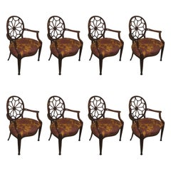 Set of Eight Mahogany Dining Chairs in the Manner of Hepplewhite