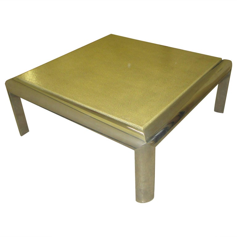 Karl Springer Style Square Chrome Coffee Table With Faux Snakeskin Top For Sale At 1stdibs