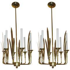 Pair of Six-Arm Modernist Brass Fixtures