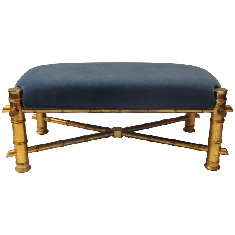 Gilt Faux Bamboo Bench