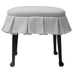 Ebonized Oval Stool with Box Pleated Skirt