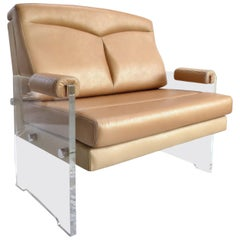 Custom-Made Lucite Armchair Upholstered in Leather