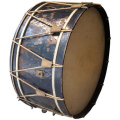 20th Century French Drum Made of Metal, Leather and Cord, 1940s