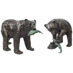 Pair of Large Wild Bears Fishing Salmon Bronze Sculptures