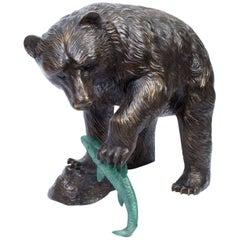 Large Wild Bear Fishing Salmon Bronze Sculpture