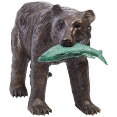 Large Wild Bear Catching Fish Bronze Sculpture