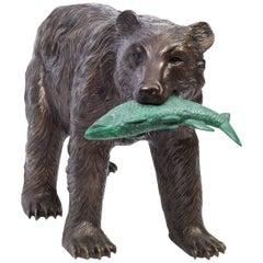Wild Bear Catching Fish Bronze Sculpture