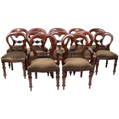 Set of 12 Victorian Style Balloon Back Dining Chairs with Carved Shield