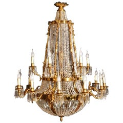 French Empire Style Two-Tier Eighteen-Light Ballroom Chandelier
