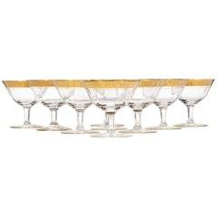 Set of Nine Art Deco Tiffin Glass Floral Gold Rim Short Coupe Stems