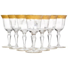 Art Deco Tiffin Glass Floral Gold Rim Wine Stems, Set of Eight
