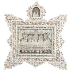 Antique Mother-of-Pearl Christian Icon of the Last Supper from Jerusalem