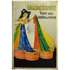 1935 Tin Sign by Dorfi for Fabric Paint L'Alsacienne