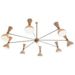 Striking 1950s Italian Chandelier with Brass Fixtures and Diablo Lampshades