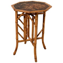 Octagonal Oriental Bamboo Lamp Side Table Lacquered Top Victorian, circa 1890