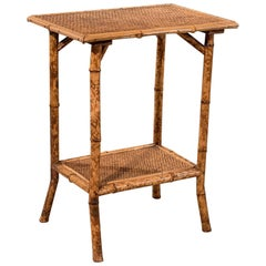 Antique Bamboo Lamp Side Table Oriental Victorian Quality Two-Tier, circa 1900