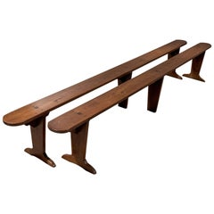 Pair of Very Long Oak Benches Pew Seats Quality French Country, circa 1900