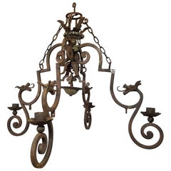 Early 20th Century Dragon Candle Chandelier Samuel Yellin Style