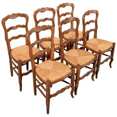 French Oak Country Kitchen Dining Chairs Set of Six Rush Seats, circa 1900