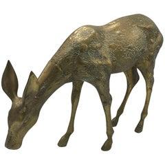 1960s Brass Female Deer Sculpture