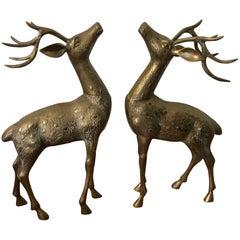 1960s Large Brass Deer Sculptures, Pair