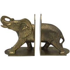 1960s Brass Elephant Sculpture Bookends, Pair