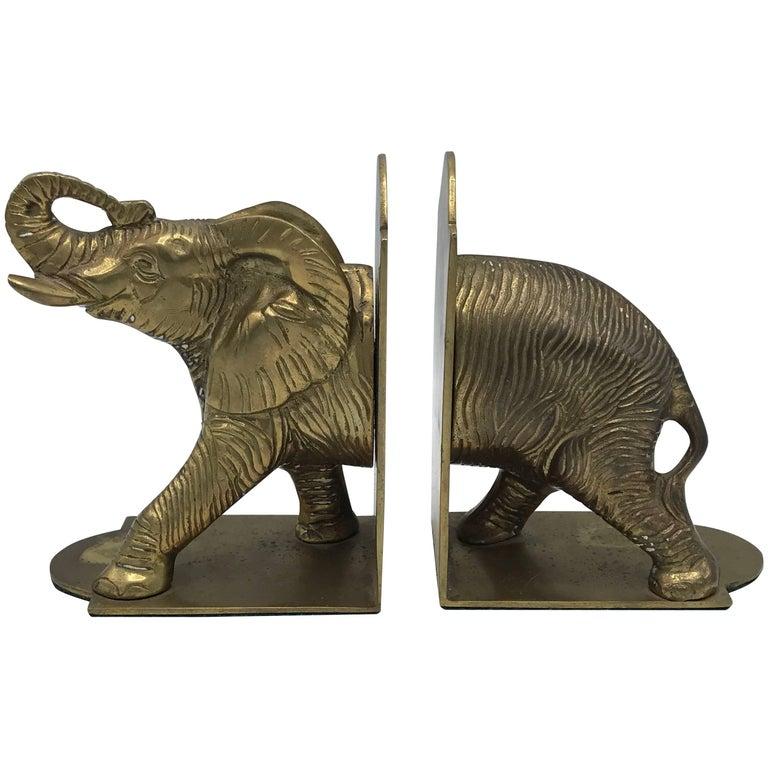 1960s Brass Elephant Sculpture Bookends, Pair