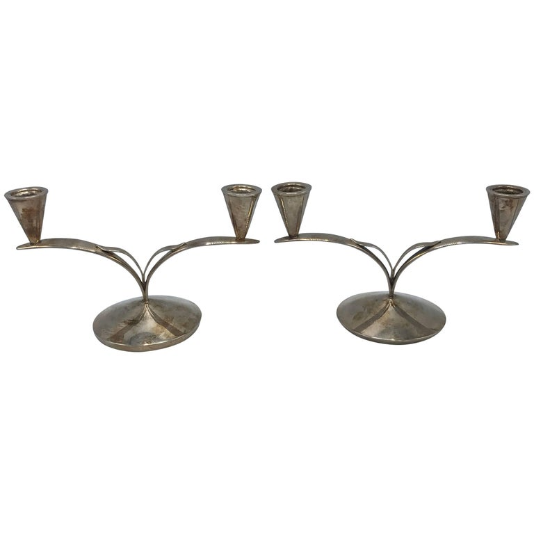 1960s Danish Silver Candlesticks, Pair