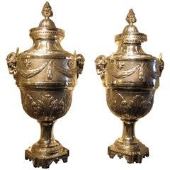 Pair of Large Silver Plated Urns