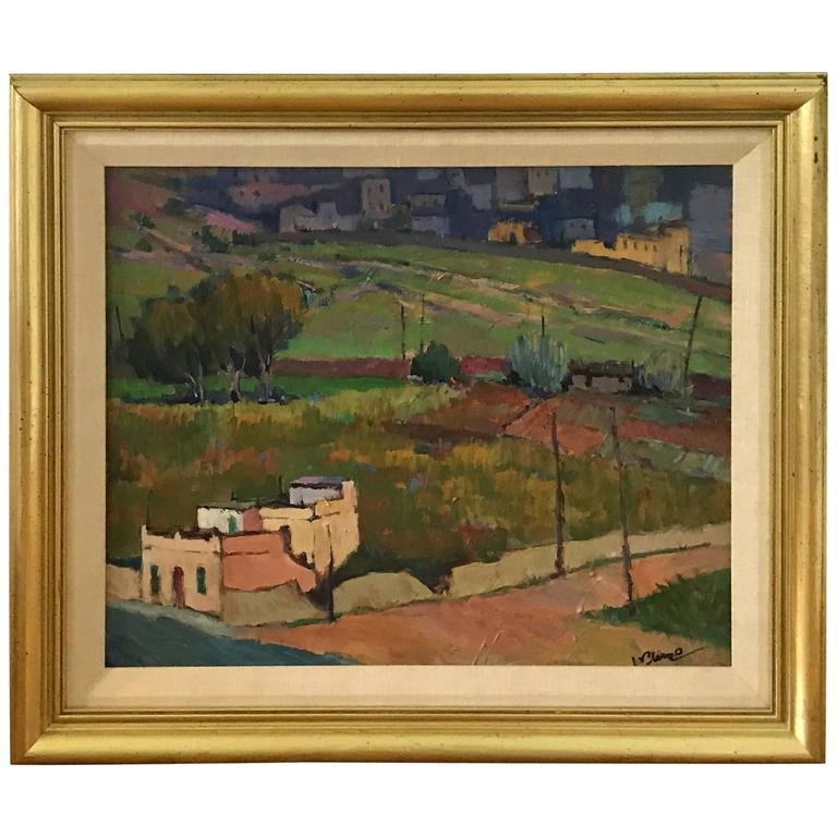 1980s Tuscan Landscape Oil Painting, Framed For Sale