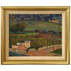 1980s Tuscan Landscape Oil Painting, Framed