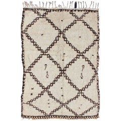 White Background Mid-Century Moroccan Azilal Rug with Brown Diamond Design