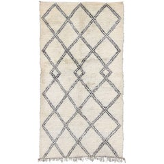 Large White Background Vintage Beni Ourain Moroccan Rug with Charcoal Diamonds