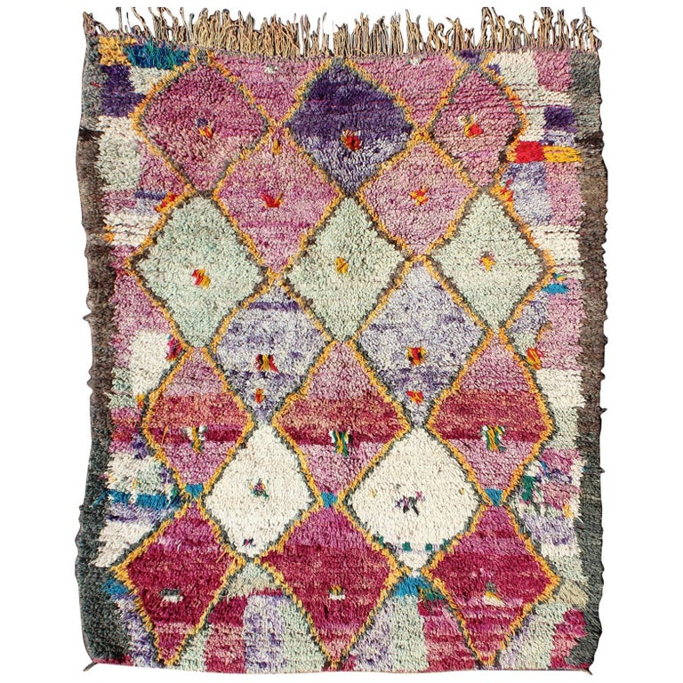 Colorful Vintage Moroccan Rug With Pink, Yellow, Turquoise